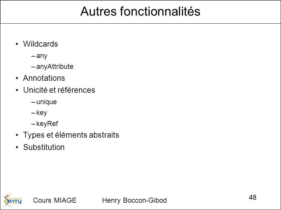 Cours MIAGE Henry Boccon-Gibod 48 Wildcards –any –anyAttribute Annotations Unicité et références –unique –key –keyRef Types et éléments abstraits Substitution Autres fonctionnalités
