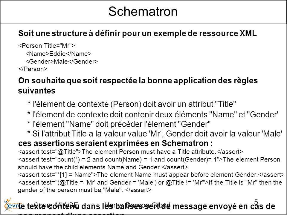 Cours MIAGE Henry Boccon-Gibod 46 Exemple de document utilisant une forme qualifiée implicite : <purchaseOrder xmlns= http://www.example.com/PO1 orderDate= 1999-10-20 > Alice Smith 123 Maple Street Robert Smith 8 Oak Avenue Hurry, my lawn is going wild.