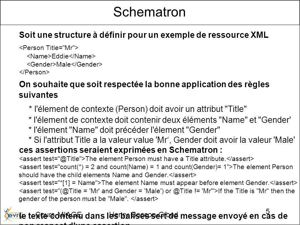 Cours MIAGE Henry Boccon-Gibod 5 Schematron Soit une structure à définir pour un exemple de ressource XML Eddie Male On souhaite que soit respectée la