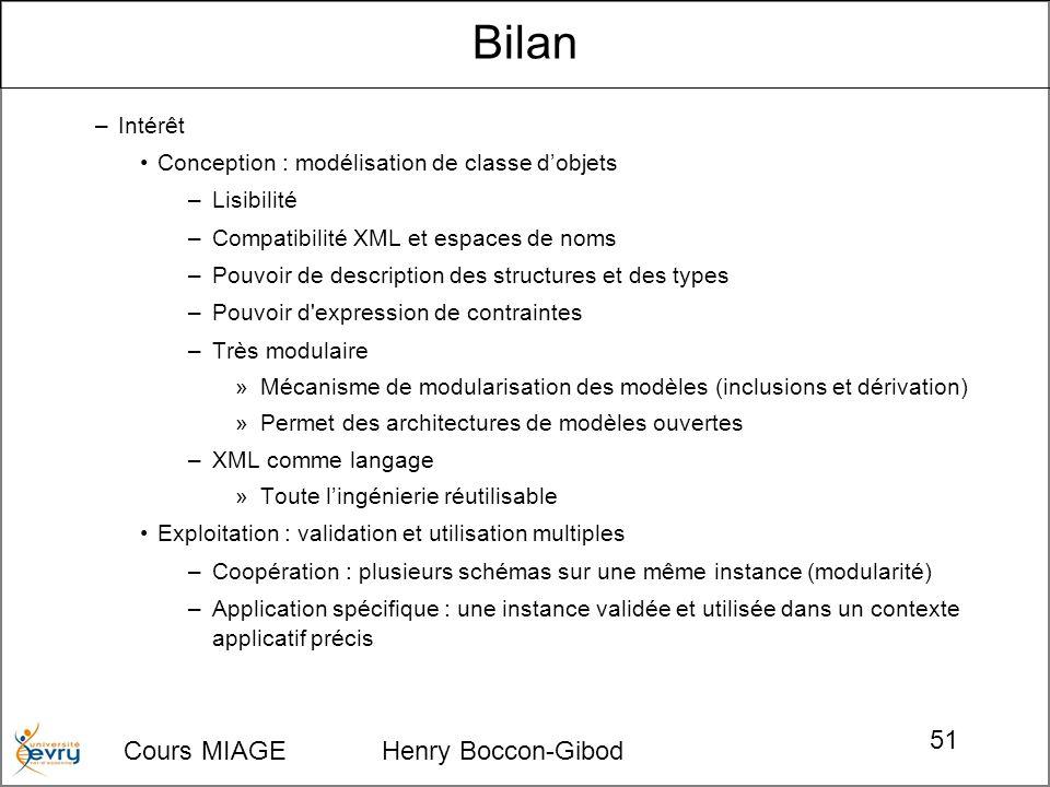 Cours MIAGE Henry Boccon-Gibod 51 –Intérêt Conception : modélisation de classe dobjets –Lisibilité –Compatibilité XML et espaces de noms –Pouvoir de d