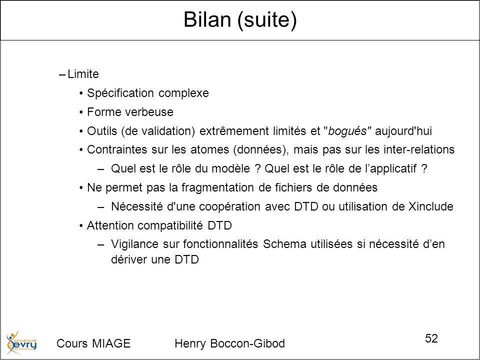 Cours MIAGE Henry Boccon-Gibod 52 –Limite Spécification complexe Forme verbeuse Outils (de validation) extrêmement limités et