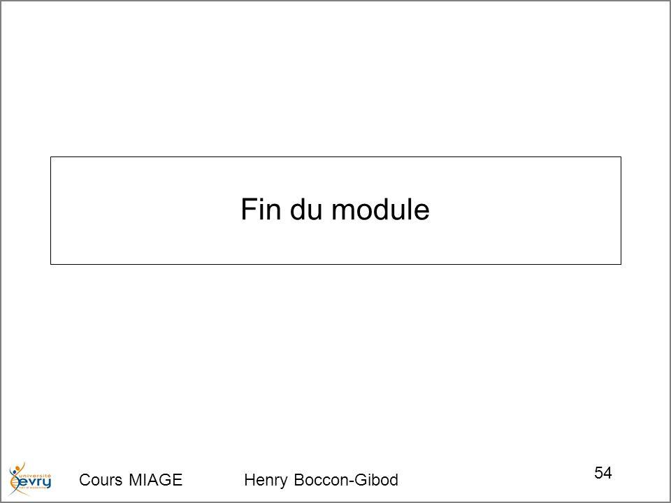Cours MIAGE Henry Boccon-Gibod 54 Fin du module