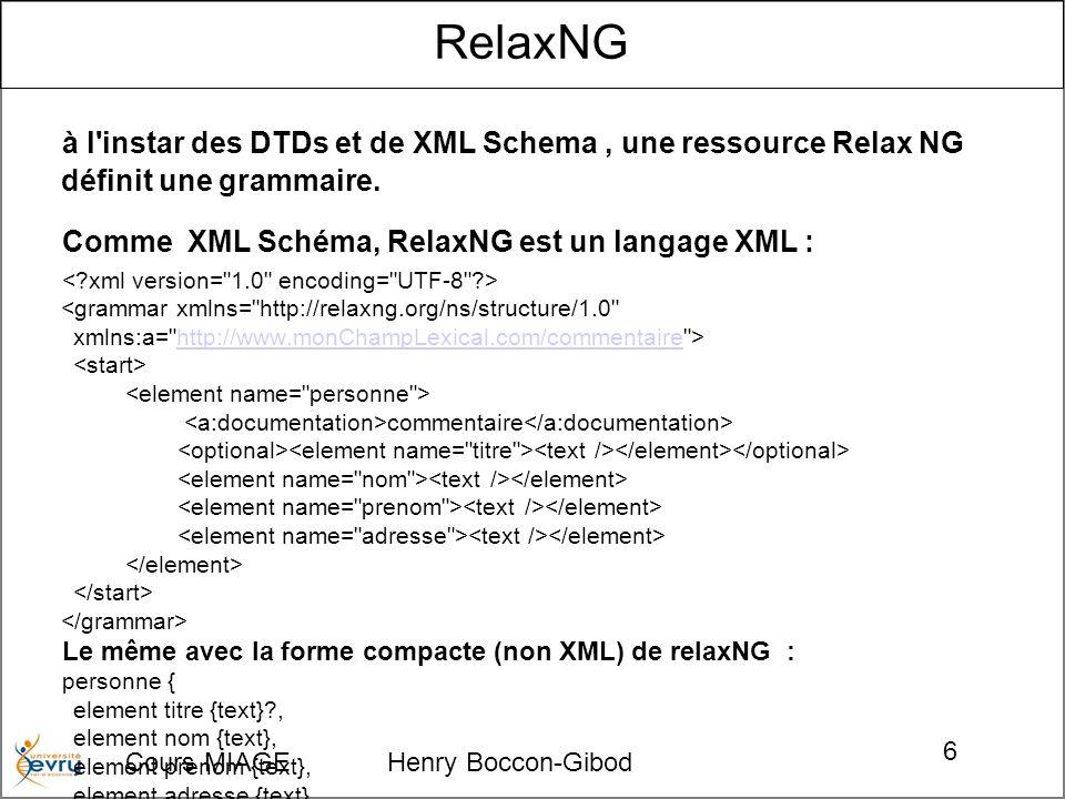 Cours MIAGE Henry Boccon-Gibod 6 RelaxNG à l'instar des DTDs et de XML Schema, une ressource Relax NG définit une grammaire. Comme XML Schéma, RelaxNG