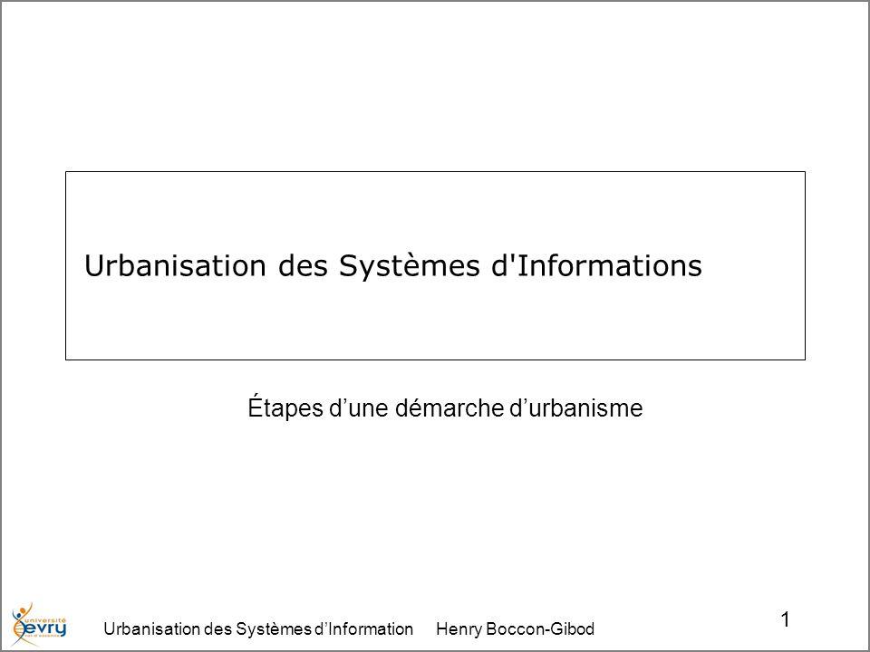 Urbanisation des Systèmes dInformation Henry Boccon-Gibod 1 Urbanisation des Systèmes d Informations Étapes dune démarche durbanisme