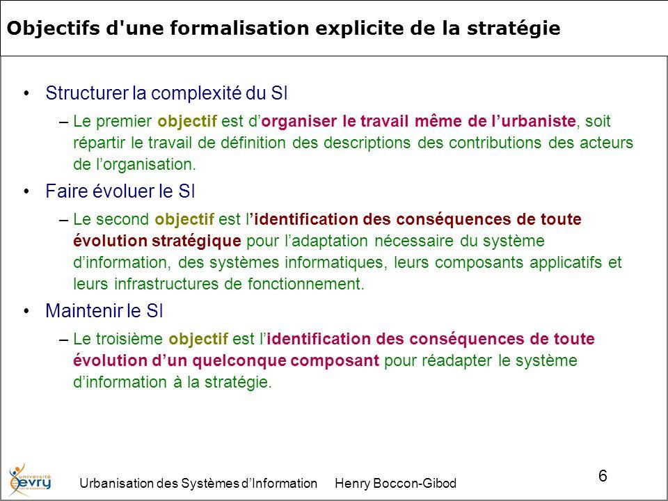 Urbanisation des Systèmes dInformation Henry Boccon-Gibod 6 Objectifs d une formalisation explicite de la stratégie Structurer la complexité du SI –Le premier objectif est dorganiser le travail même de lurbaniste, soit répartir le travail de définition des descriptions des contributions des acteurs de lorganisation.