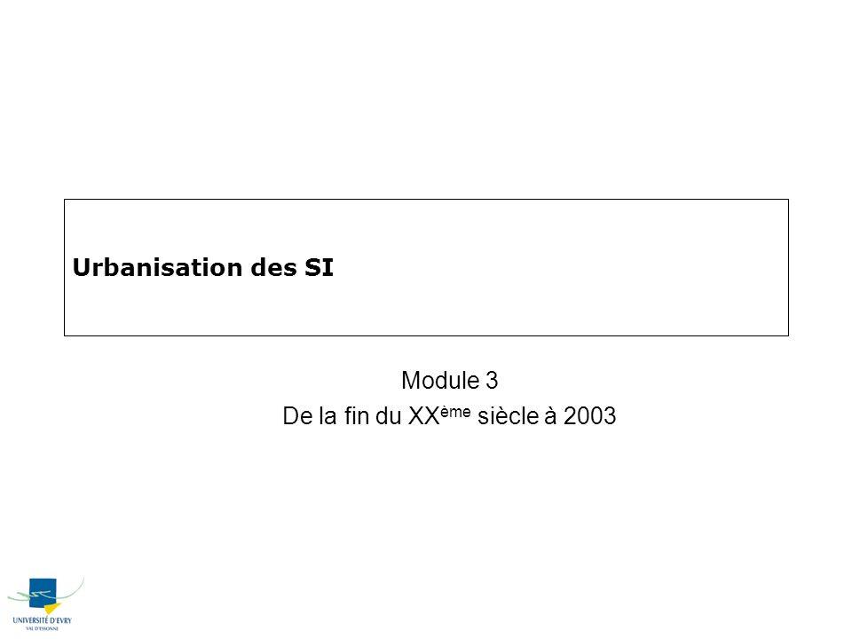 Urbanisation des SI Module 3 De la fin du XX ème siècle à 2003