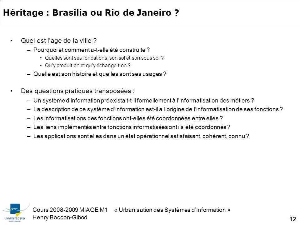 Cours 2008-2009 MIAGE M1 « Urbanisation des Systèmes dInformation » Henry Boccon-Gibod 12 Héritage : Brasilia ou Rio de Janeiro .