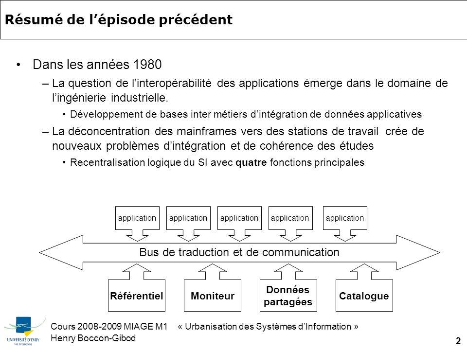 Cours 2008-2009 MIAGE M1 « Urbanisation des Systèmes dInformation » Henry Boccon-Gibod 2 Résumé de lépisode précédent Dans les années 1980 –La question de linteropérabilité des applications émerge dans le domaine de lingénierie industrielle.