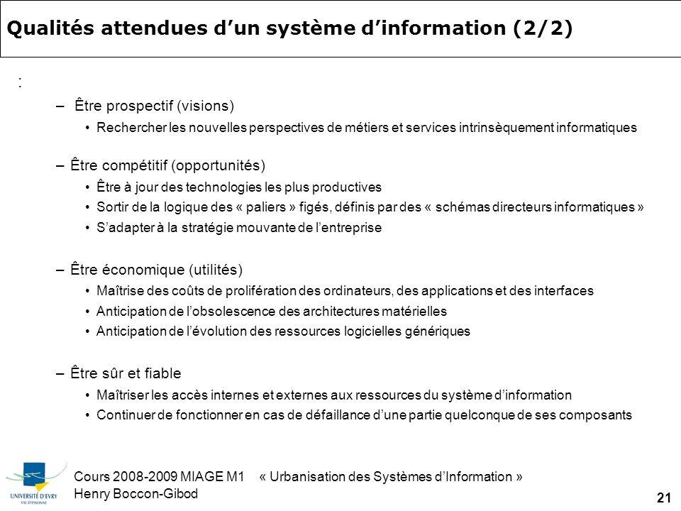 Cours 2008-2009 MIAGE M1 « Urbanisation des Systèmes dInformation » Henry Boccon-Gibod 21 Qualités attendues dun système dinformation (2/2) : – Être prospectif (visions) Rechercher les nouvelles perspectives de métiers et services intrinsèquement informatiques –Être compétitif (opportunités) Être à jour des technologies les plus productives Sortir de la logique des « paliers » figés, définis par des « schémas directeurs informatiques » Sadapter à la stratégie mouvante de lentreprise –Être économique (utilités) Maîtrise des coûts de prolifération des ordinateurs, des applications et des interfaces Anticipation de lobsolescence des architectures matérielles Anticipation de lévolution des ressources logicielles génériques –Être sûr et fiable Maîtriser les accès internes et externes aux ressources du système dinformation Continuer de fonctionner en cas de défaillance dune partie quelconque de ses composants