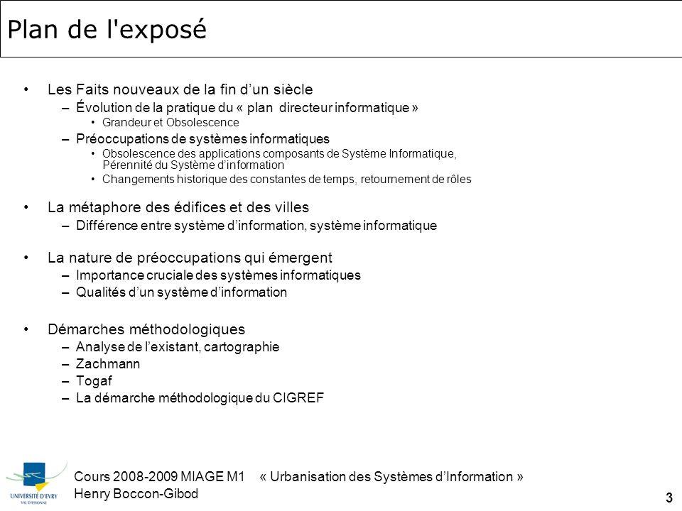 Cours 2008-2009 MIAGE M1 « Urbanisation des Systèmes dInformation » Henry Boccon-Gibod 24 Comparaison : éléments darchitecture applicative Meta-modèle de larchitecture dune application par Grady Booch