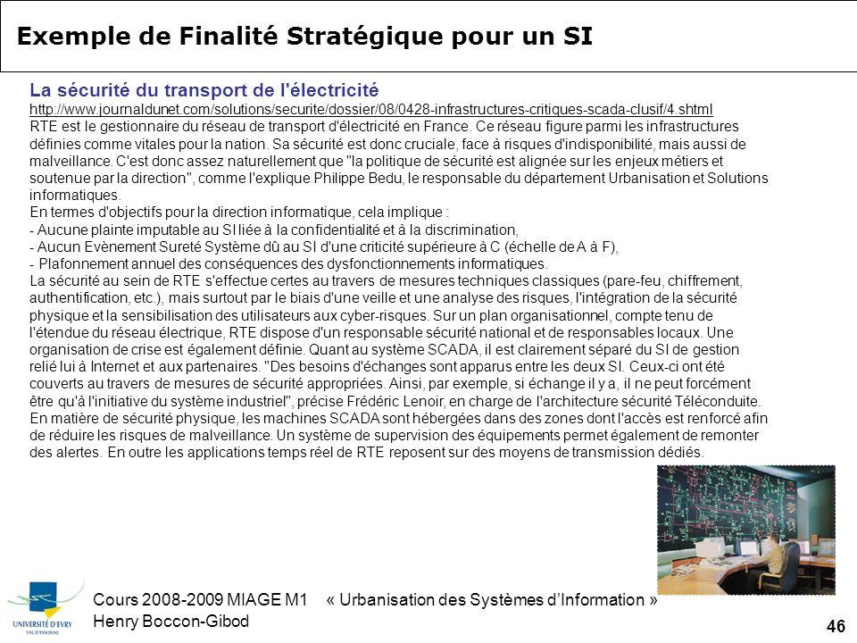 Cours 2008-2009 MIAGE M1 « Urbanisation des Systèmes dInformation » Henry Boccon-Gibod 46 La sécurité du transport de l électricité http://www.journaldunet.com/solutions/securite/dossier/08/0428-infrastructures-critiques-scada-clusif/4.shtml RTE est le gestionnaire du réseau de transport d électricité en France.