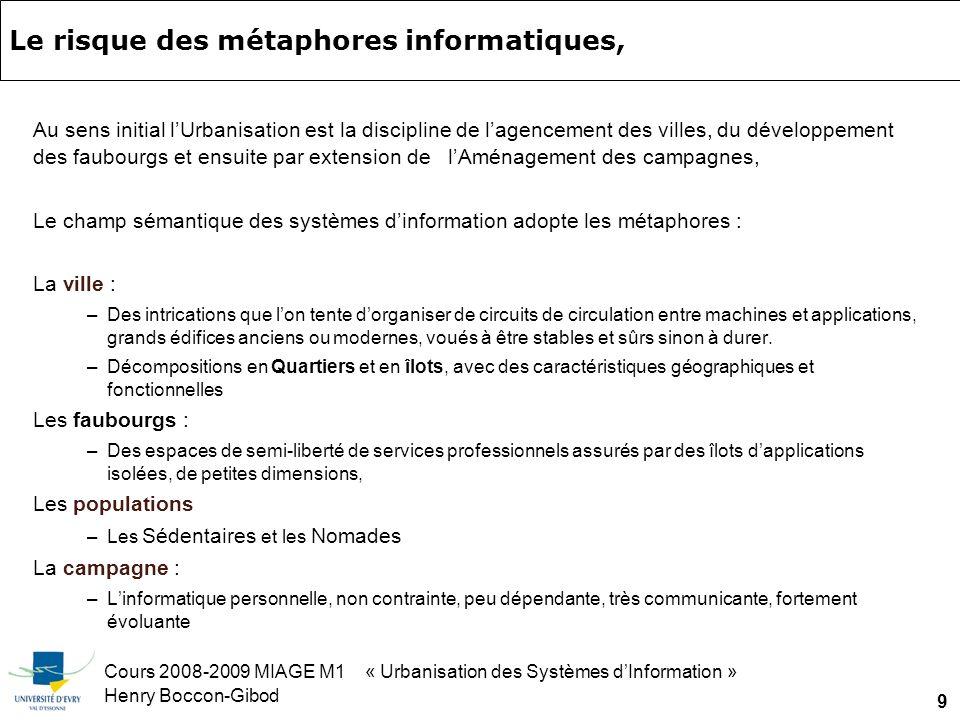 Cours 2008-2009 MIAGE M1 « Urbanisation des Systèmes dInformation » Henry Boccon-Gibod 50 Exemple demploi autre : analyse qualitative de défaut