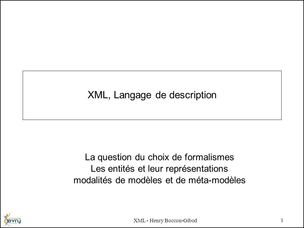 XML - Henry Boccon-Gibod 1 XML, Langage de description La question du choix de formalismes Les entités et leur représentations modalités de modèles et de méta-modèles