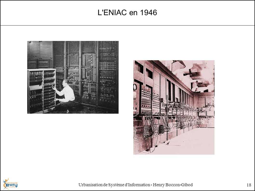 Urbanisation de Système d'Information - Henry Boccon-Gibod 18 L'ENIAC en 1946