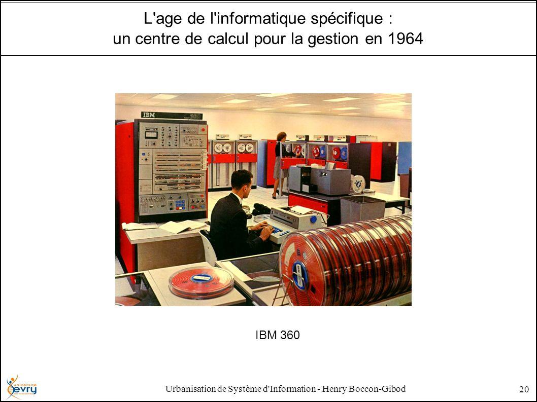 Urbanisation de Système d'Information - Henry Boccon-Gibod 20 L'age de l'informatique spécifique : un centre de calcul pour la gestion en 1964 IBM 360