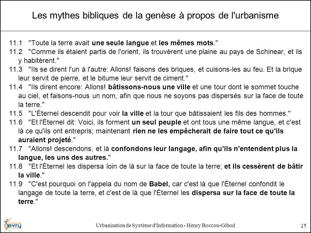 Urbanisation de Système d'Information - Henry Boccon-Gibod 25 Les mythes bibliques de la genèse à propos de l'urbanisme 11.1