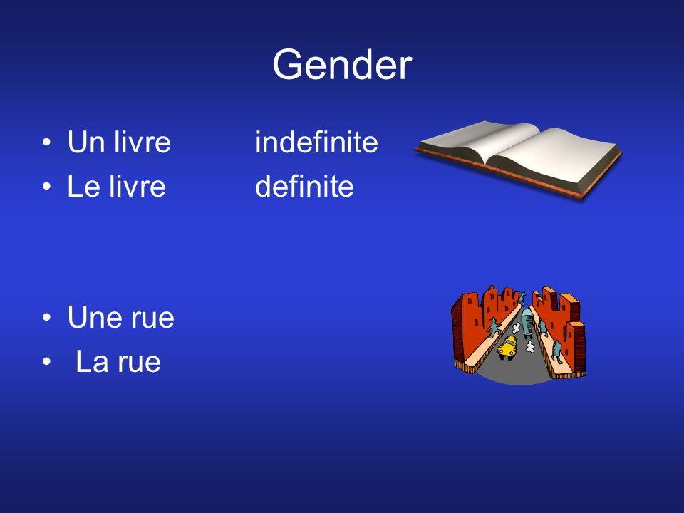 Gender Un livre indefinite Le livre definite Une rue La rue