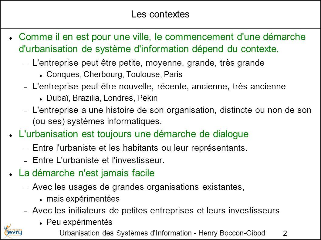 Urbanisation des Systèmes d'Information - Henry Boccon-Gibod 2 Les contextes Comme il en est pour une ville, le commencement d'une démarche d'urbanisa