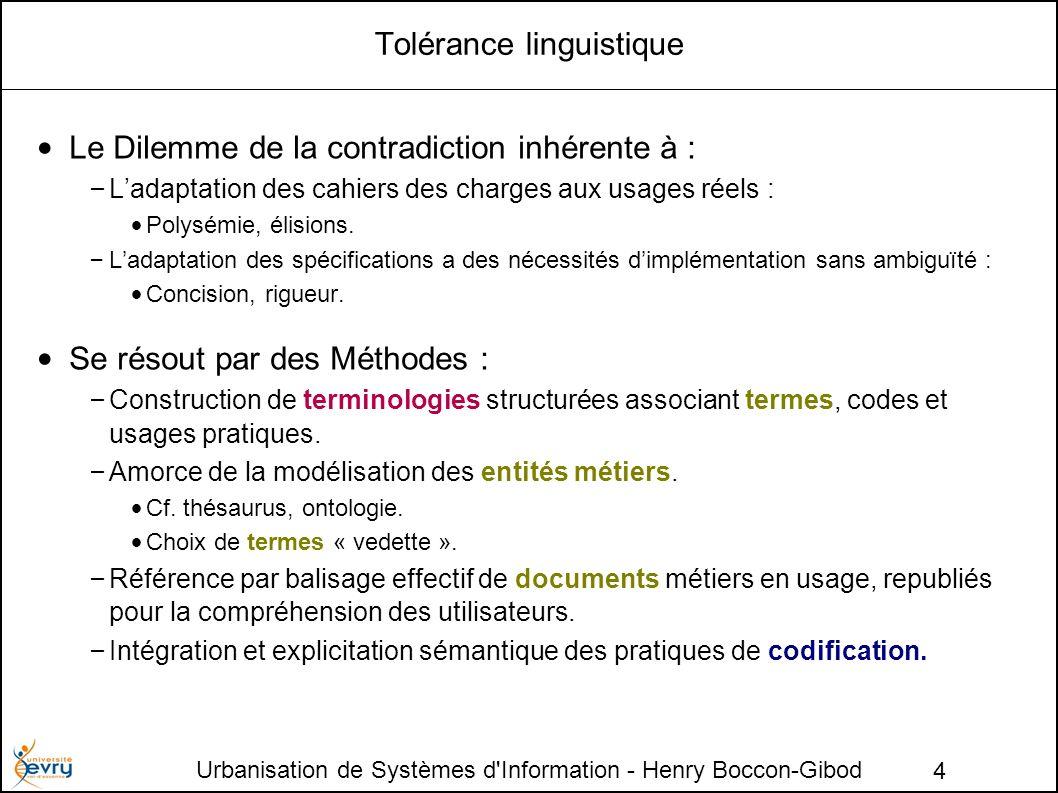 Urbanisation de Systèmes d'Information - Henry Boccon-Gibod 4 Tolérance linguistique Le Dilemme de la contradiction inhérente à : – Ladaptation des ca