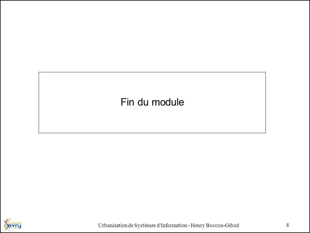 Urbanisation de Systèmes d'Information - Henry Boccon-Gibod 8 Fin du module