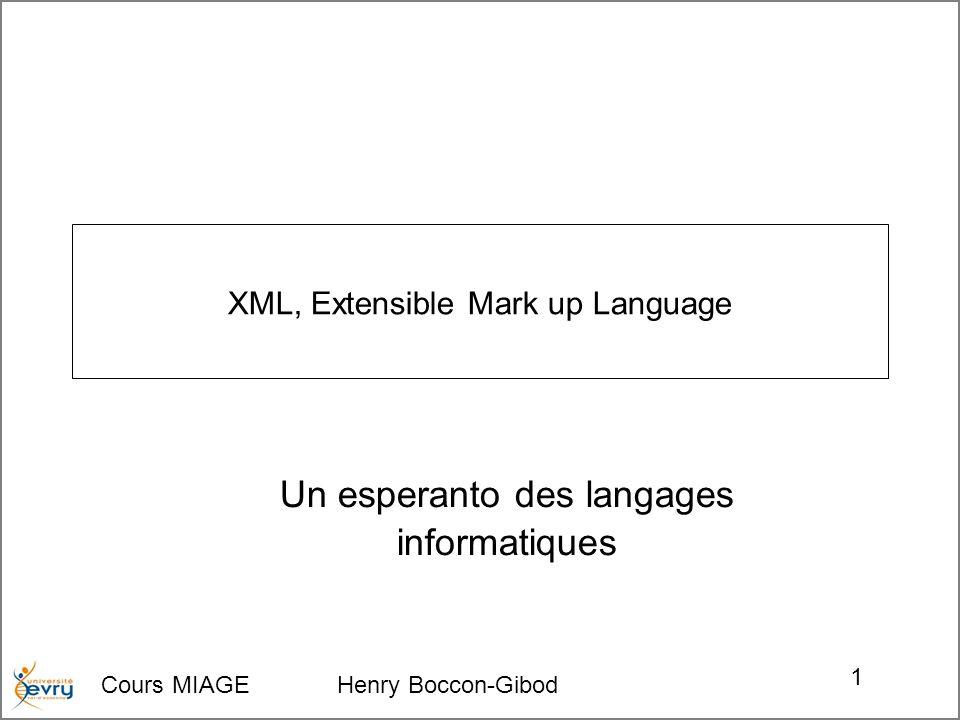 Cours MIAGE Henry Boccon-Gibod 2 Programme d un cours Contexte : –Les origines du méta-langage XML, Ses précurseurs, Sa génèse, sa philosophie et les raisons de son succès, Les deux modalités intriquées du méta-langage XML : –Le domaine des Messages et des Documents Les Structure hiérarchique de documents, « bien formés » et « valides » Modélisation structurelle en DTD ou XML Schema ou...