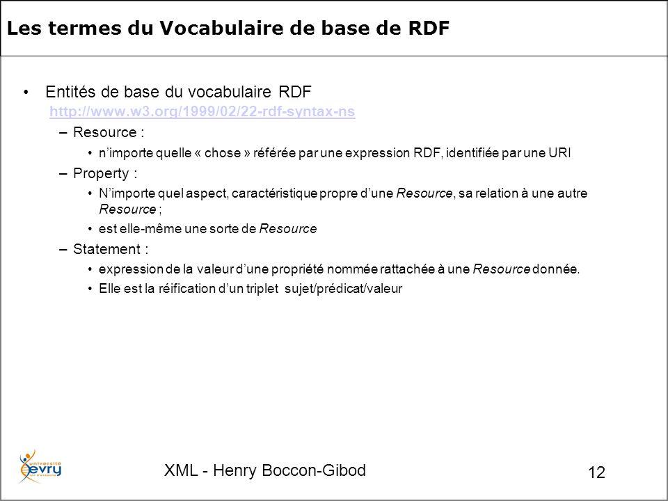 XML - Henry Boccon-Gibod 12 Les termes du Vocabulaire de base de RDF Entités de base du vocabulaire RDF http://www.w3.org/1999/02/22-rdf-syntax-nshttp://www.w3.org/1999/02/22-rdf-syntax-ns –Resource : nimporte quelle « chose » référée par une expression RDF, identifiée par une URI –Property : Nimporte quel aspect, caractéristique propre dune Resource, sa relation à une autre Resource ; est elle-même une sorte de Resource –Statement : expression de la valeur dune propriété nommée rattachée à une Resource donnée.