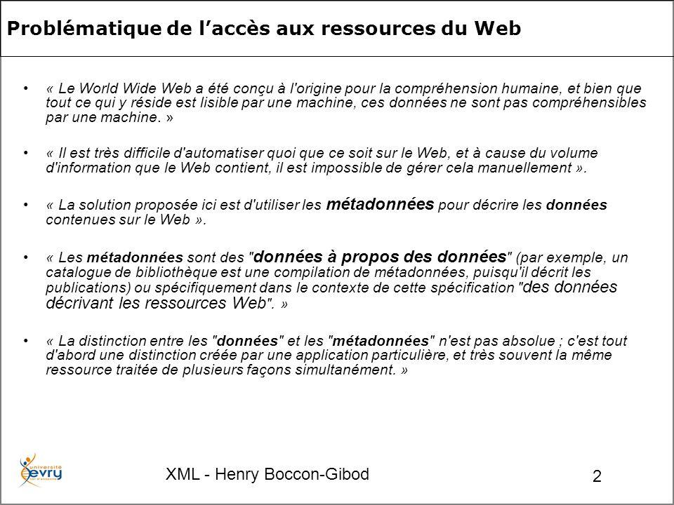 XML - Henry Boccon-Gibod 2 Problématique de laccès aux ressources du Web « Le World Wide Web a été conçu à l origine pour la compréhension humaine, et bien que tout ce qui y réside est lisible par une machine, ces données ne sont pas compréhensibles par une machine.