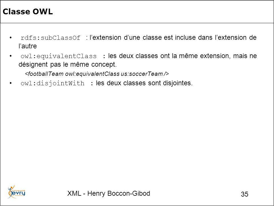 XML - Henry Boccon-Gibod 35 rdfs:subClassOf : lextension dune classe est incluse dans lextension de lautre owl:equivalentClass : les deux classes ont la même extension, mais ne désignent pas le même concept.