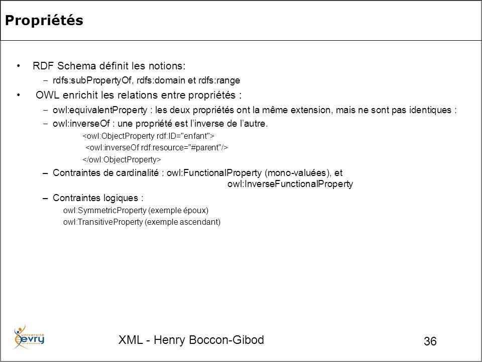 XML - Henry Boccon-Gibod 36 Propriétés RDF Schema définit les notions: – rdfs:subPropertyOf, rdfs:domain et rdfs:range OWL enrichit les relations entre propriétés : – owl:equivalentProperty : les deux propriétés ont la même extension, mais ne sont pas identiques : – owl:inverseOf : une propriété est linverse de lautre.