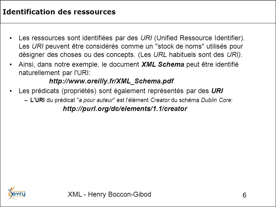XML - Henry Boccon-Gibod 27 The class of RDF Lists.rdf:List The class of container membership properties, rdf:_1, rdf:_2,..., all of which are sub-properties of member .