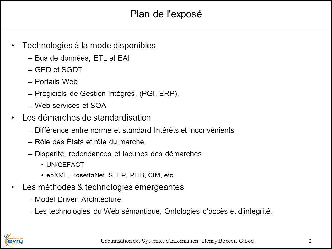 Urbanisation des Systèmes d Information - Henry Boccon-Gibod 2 Plan de l exposé Technologies à la mode disponibles.