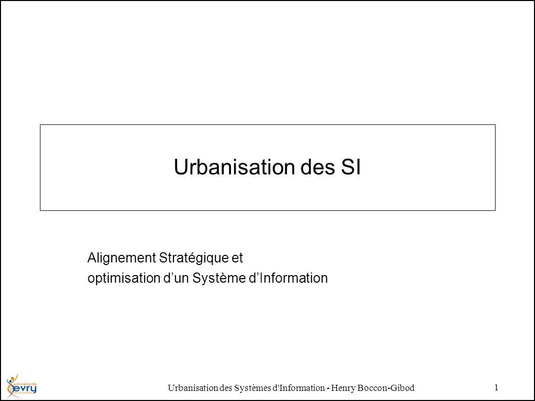 Urbanisation des Systèmes d Information - Henry Boccon-Gibod 1 Urbanisation des SI Alignement Stratégique et optimisation dun Système dInformation