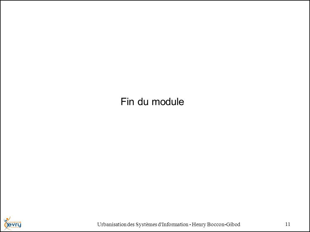 Urbanisation des Systèmes d Information - Henry Boccon-Gibod 11 Fin du module