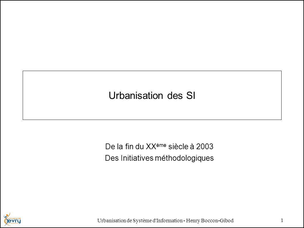 Urbanisation de Système d Information - Henry Boccon-Gibod 1 Urbanisation des SI De la fin du XX ème siècle à 2003 Des Initiatives méthodologiques