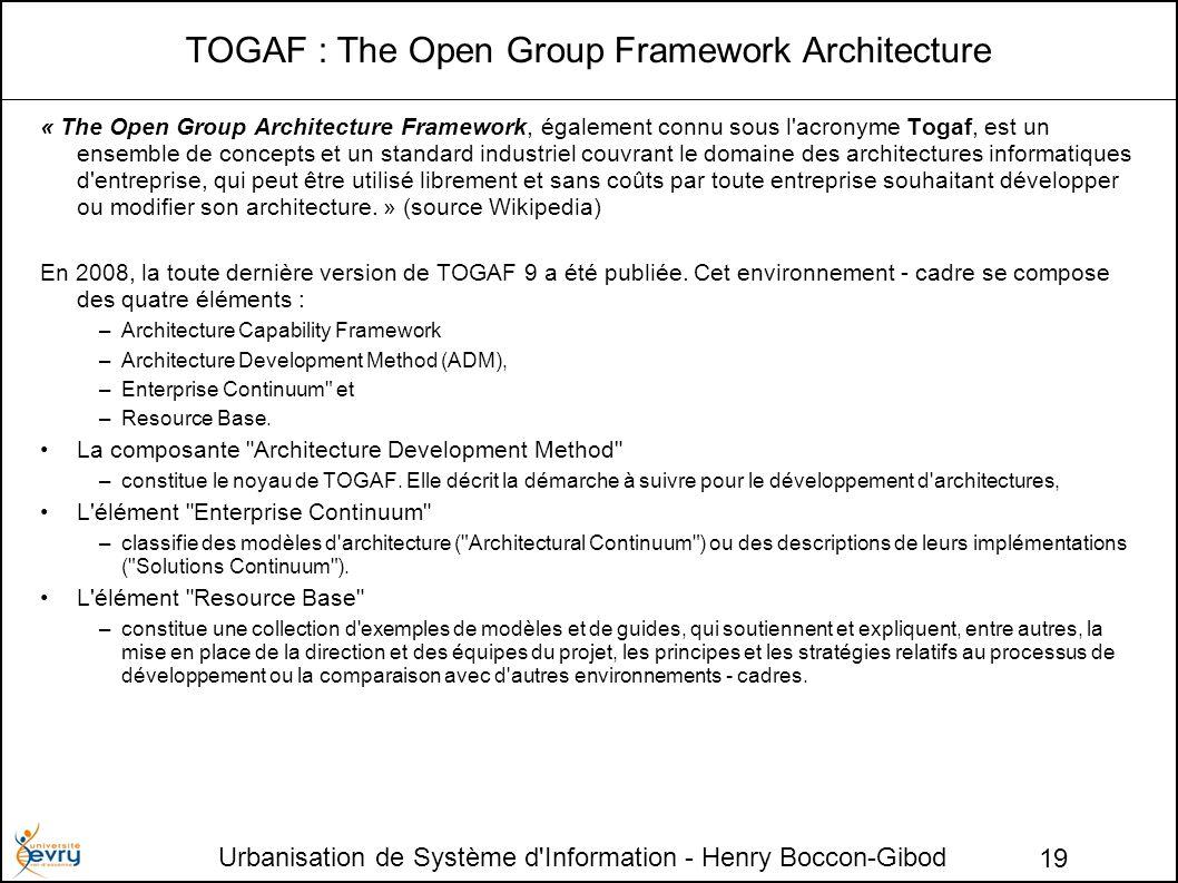 Urbanisation de Système d Information - Henry Boccon-Gibod 19 TOGAF : The Open Group Framework Architecture « The Open Group Architecture Framework, également connu sous l acronyme Togaf, est un ensemble de concepts et un standard industriel couvrant le domaine des architectures informatiques d entreprise, qui peut être utilisé librement et sans coûts par toute entreprise souhaitant développer ou modifier son architecture.