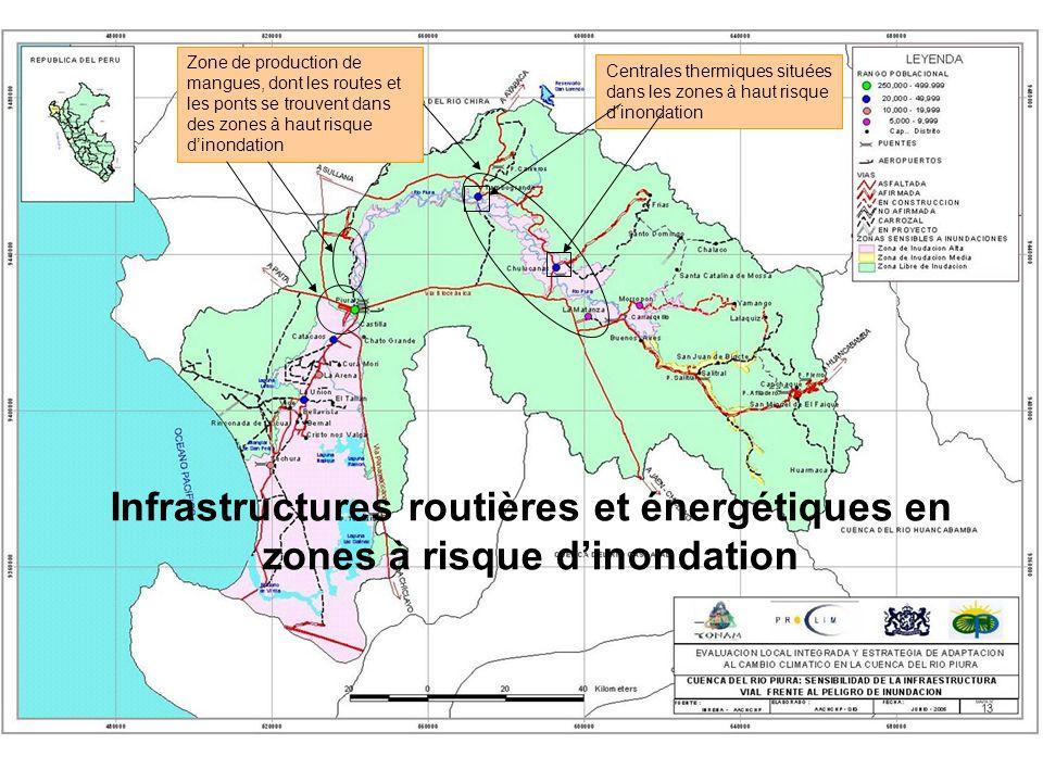 Zone de production de mangues, dont les routes et les ponts se trouvent dans des zones à haut risque dinondation Infrastructures routières et énergéti