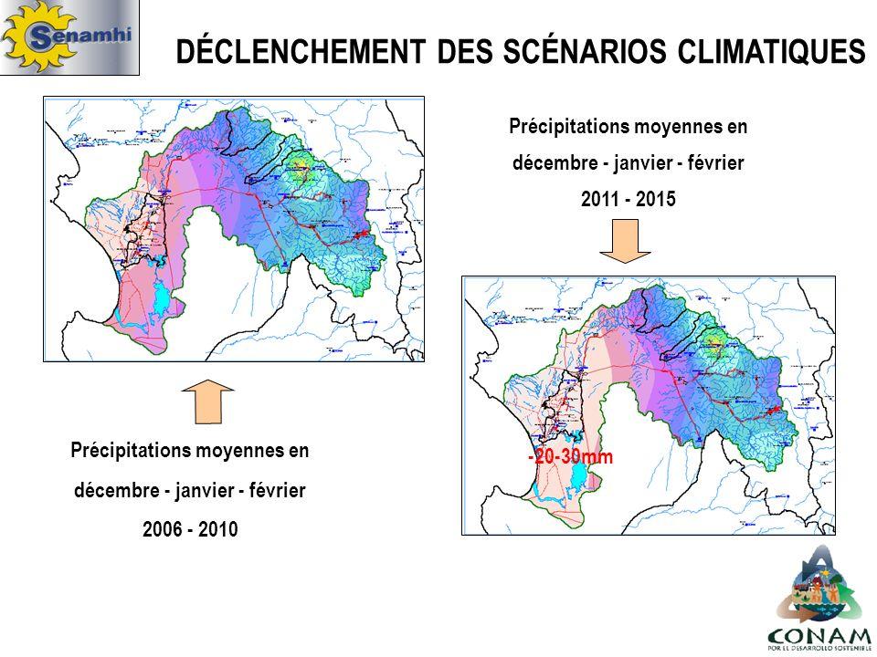 Précipitations moyennes en décembre - janvier - février 2006 - 2010 Précipitations moyennes en décembre - janvier - février 2011 - 2015 -20-30mm DÉCLENCHEMENT DES SCÉNARIOS CLIMATIQUES