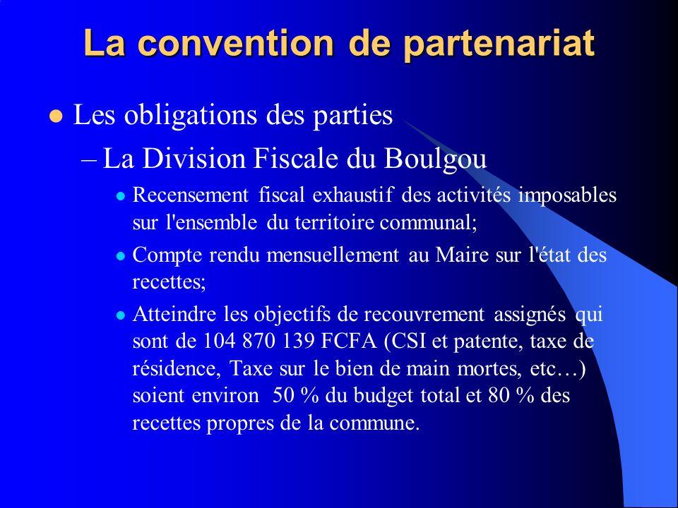 La convention de partenariat Les obligations des parties –La Division Fiscale du Boulgou Recensement fiscal exhaustif des activités imposables sur l'e