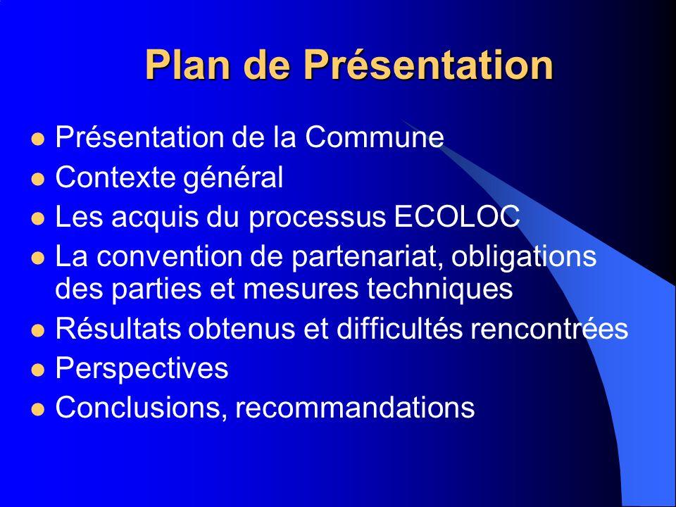 Plan de Présentation Présentation de la Commune Contexte général Les acquis du processus ECOLOC La convention de partenariat, obligations des parties