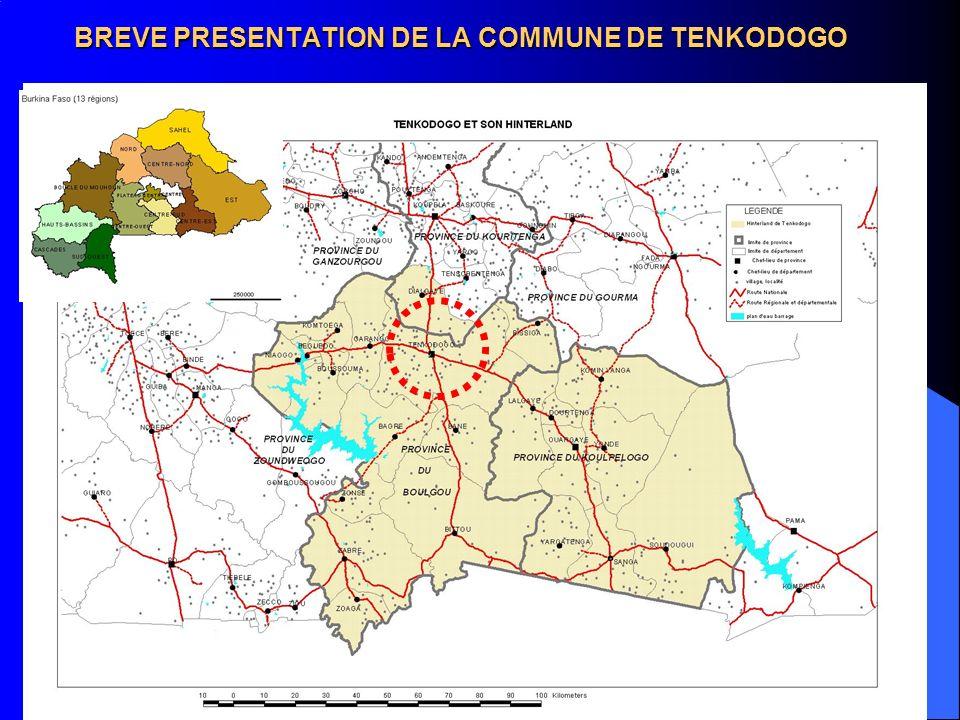 QUELQUES PRINCIPALES DONNEES GENERALES Population de la zone en 2004 : 362 159 habitants Taux durbanisation : 0%(1960), 2% (1975), 5%(1986) 11% (2002) Principales villes et population en 2004 : –Tenkodogo (36 974 hbts), Garango (28 291 hbts), –Bittou (10 834.hbts).