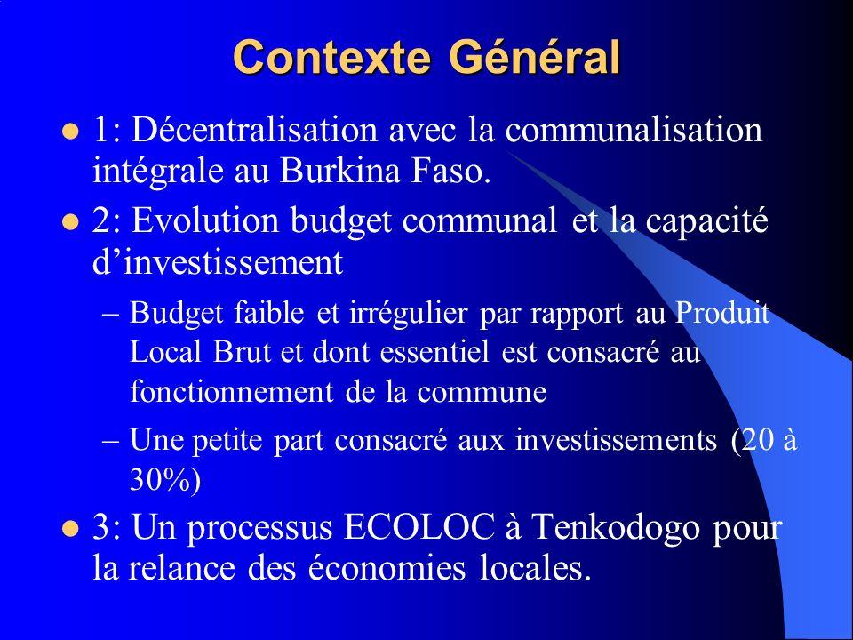 Contexte Général 1: Décentralisation avec la communalisation intégrale au Burkina Faso. 2: Evolution budget communal et la capacité dinvestissement –B