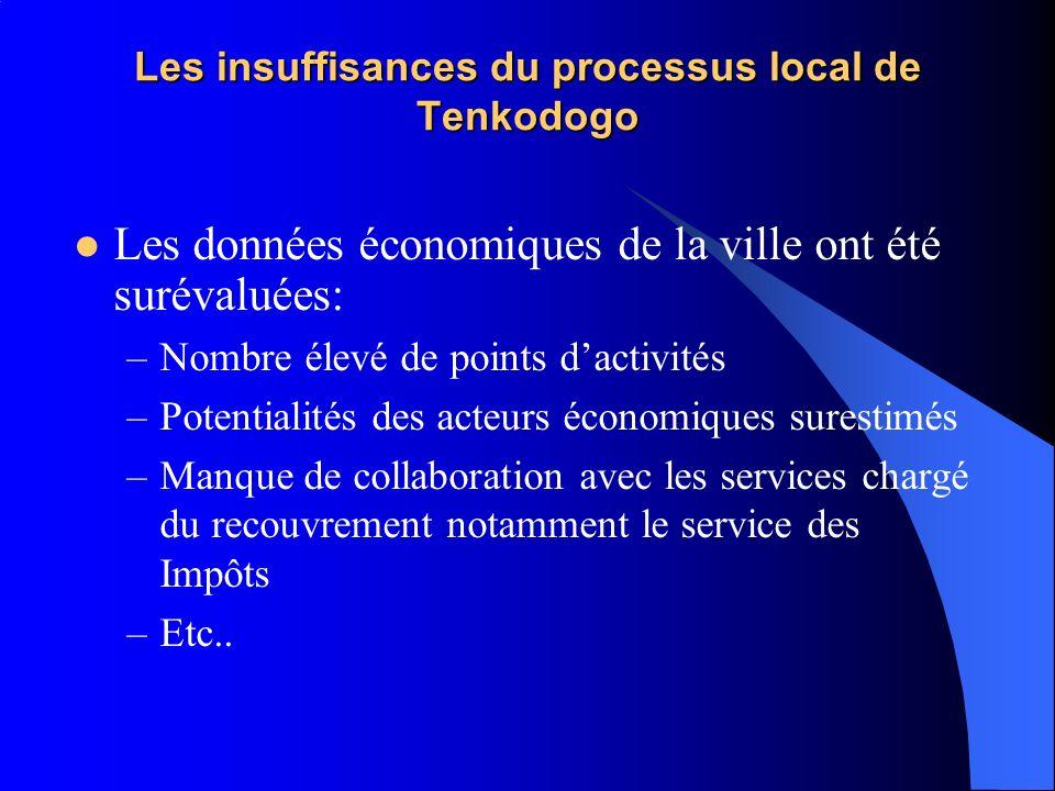 Les insuffisances du processus local de Tenkodogo Les données économiques de la ville ont été surévaluées: –Nombre élevé de points dactivités –Potenti