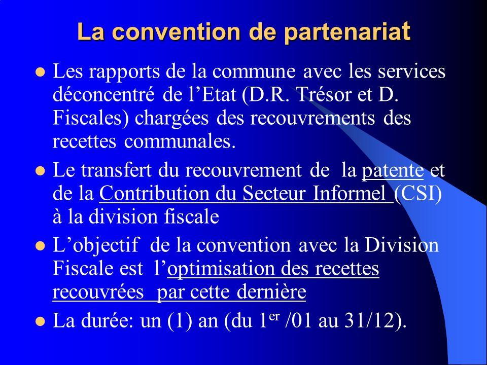 La convention de partenaria t Les rapports de la commune avec les services déconcentré de lEtat (D.R. Trésor et D. Fiscales) chargées des recouvrement