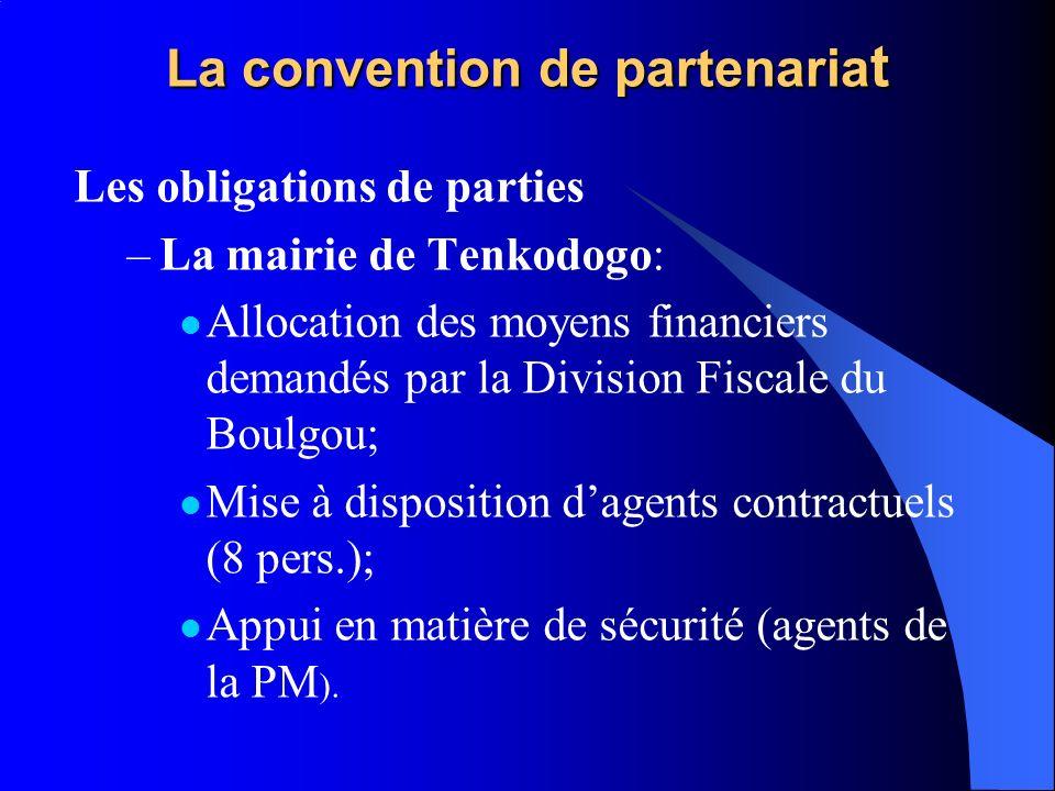 La convention de partenaria t Les obligations de parties –La mairie de Tenkodogo: Allocation des moyens financiers demandés par la Division Fiscale du