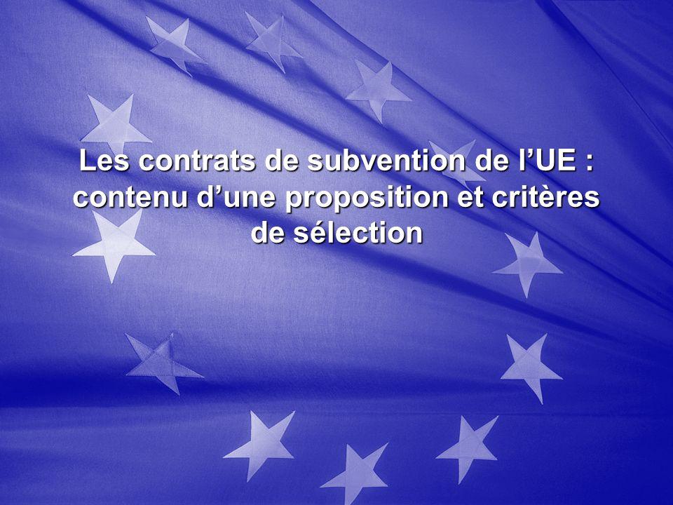 Les contrats de subvention de lUE : contenu dune proposition et critères de sélection