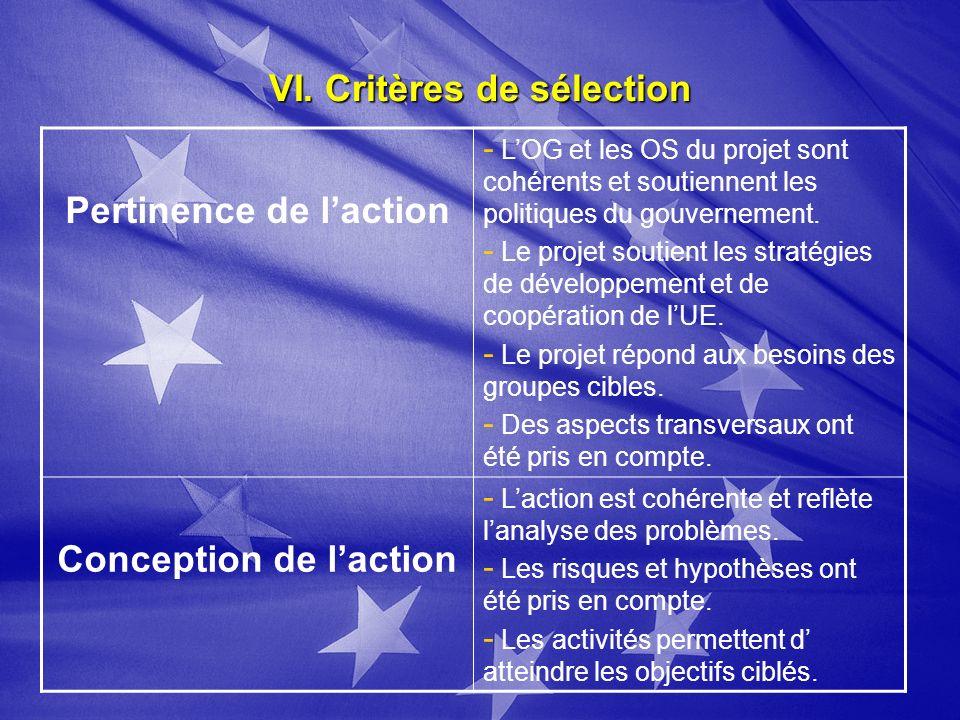 VI. Critères de sélection Pertinence de laction - LOG et les OS du projet sont cohérents et soutiennent les politiques du gouvernement. - Le projet so
