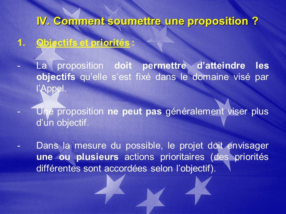 IV. Comment soumettre une proposition ? 1. 1.Objectifs et priorités : - -La proposition doit permettre datteindre les objectifs quelle sest fixé dans