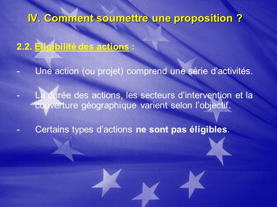 IV. Comment soumettre une proposition ? 2.2. Eligibilité des actions : - -Une action (ou projet) comprend une série dactivités. - -La durée des action