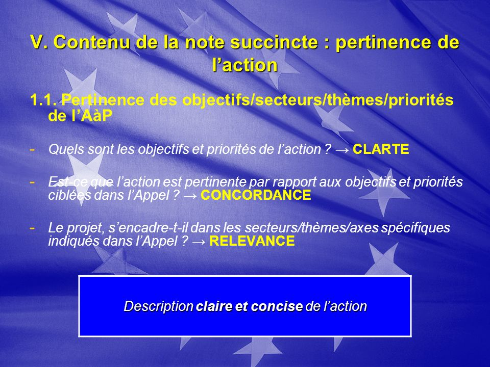 V. Contenu de la note succincte : pertinence de laction 1.1.