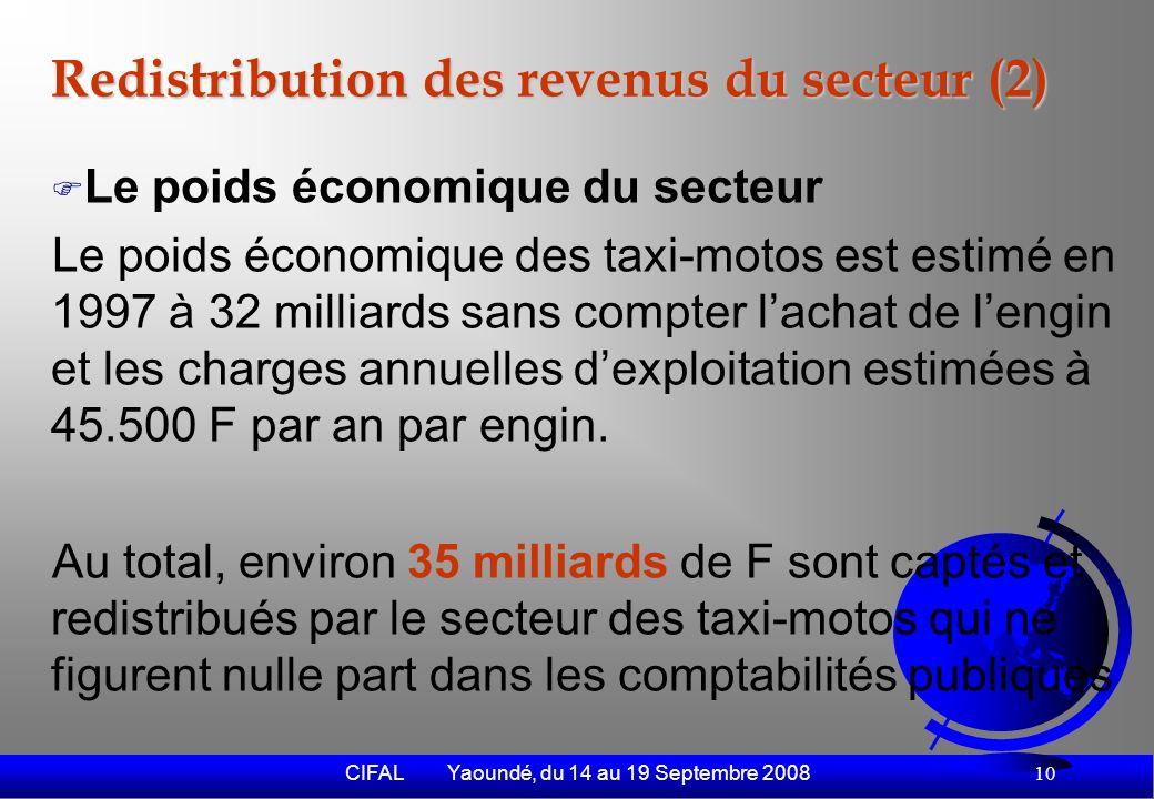 CIFAL Yaoundé, du 14 au 19 Septembre 2008 11 Impact sociaux positifs Contribution à la baisse de la tension sociale - Coup de fouet donné à des secteurs annexes comme la restauration - Relative baisse de la vague de banditisme qui sest déferlée sur Cotonou au début des années 90.